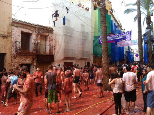 Another view of the La Tomatina aftermath.