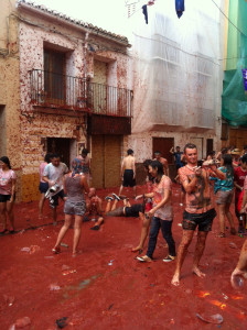 People still playing in the bloody red street after the festival finished.