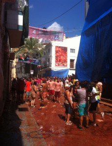 Another view of the street after La Tomatina.
