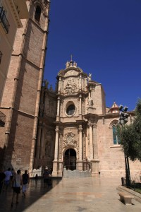 The main entrance to the Valencia Cathedral.