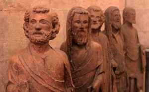 Sculptures of saints standing in a row.