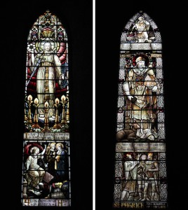 Two examples of stained glass windows inside the Cathedral.