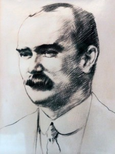 "Sketch of James Connolly, who was held in a room (now called the ""Connolly Room"") at the State Apartments in Dublin Castle after the failed Easter Rebellion in 1916 AD."