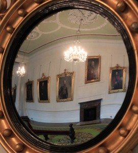 Convex mirror inside the Portrait Gallery.