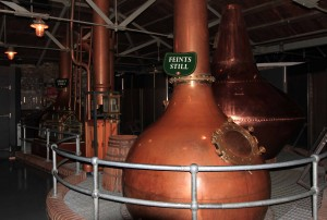 Pot stills used to demonstrate Jameson's triple distillation process.