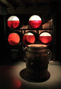 Barrels used to demonstrate the color and amount of whiskey left after 1, 3, 5, 12, 18 years of maturation.