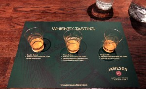 Johnny Walker Black Label (L), Jameson Irish Whiskey (C), and Jack Daniels (R) for the taste test after the Old Jameson Distillery tour.