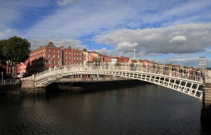 Ha'penny Bridge (built in 1816 AD out of cast iron) over the LIffey River.