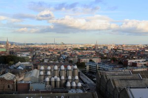 View of Dublin looking eastward from the Gravity Bar, which is located on the topmost floor of the Guinness Storehouse.