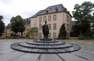 Statue of Grand Duchess Charlotte on Clairefontaine Square, designed by Jean Cardot.