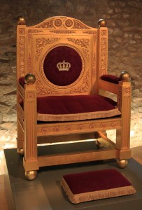 The Grand-Ducal throne used in the Chamber of Deputies for swearing in of Grand Duke Adolph in 1890 AD and of Grand Duchess Marie-Adelaide in 1912 AD.