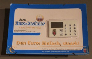 A calculator made in 2001 AD for converting monetary currencies in to euros.
