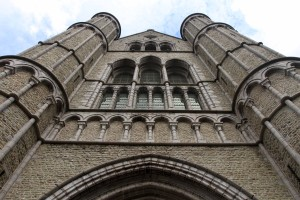 Looking up at the façade of the Church of Our Lady in Bruges.