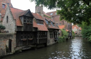 Ye olde buildings along a canal in Bruges.