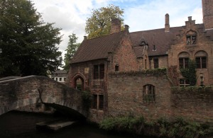 Bridge over a canal in Bruges.