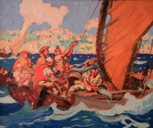 'Fishermen at Sea in a Squall' by Frank Brangwyn (1908 AD).
