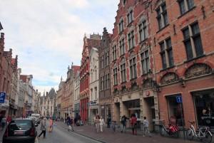 Walking down Steenstraat in Bruges.