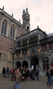 The Basilica of the Holy Blood, built in the 12th-century AD as the chapel of the residence of the Count of Flanders, the church houses a venerated relic of the Holy Blood allegedly collected by Joseph of Arimathea and brought from the Holy Land by Thierry of Alsace, Count of Flanders.