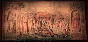 Tapestry of the 'Removal of St. Augustine's Body from Sardinia to Pavia in the 8th-century AD, with View on Bruges' by Jan de Ruddere (1637 AD).