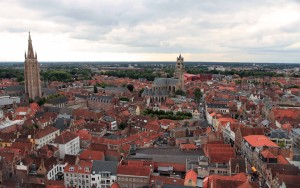 View of Bruges with the Church of Our Lady and the Sint-Salvator Cathedral, seen from the top of the Belfry of Bruges.