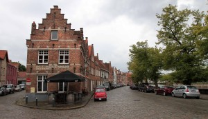 Street at the northern end of Bruges, alongside Langerei Canal.