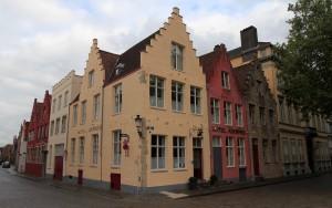 Corner street in Bruges.