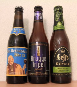 Three Belgian beers fit for consumption.