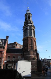"Munttoren (or ""Coin Tower"") in Muntplein Square, which was originally part of the Regulierspoort, one of the main gates in Amsterdam's medieval city wall."