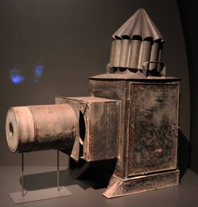 A magic lantern from the 18th-century AD that essentially works the same as a modern projector.