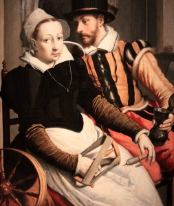 'Man and Woman at a Spinning Wheel' by Pieter Pietersz (1560-1570 AD).
