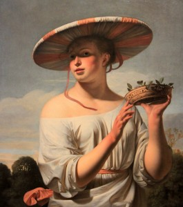 'Girl in a Large Hat' by Cesar Boetius van Everdingen (1645-1650 AD).