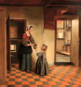 'Woman with a Child in a Pantry' by Pieter de Hooch (1656-1660 AD).