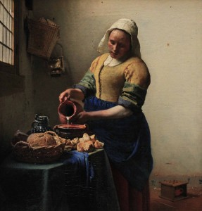 'The Milkmaid' by Johannes Vermeer (1660 AD).