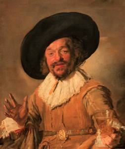 "'A Militiaman Holding a Berkemeyer, Known as the ""Merry Drinker""' by Frans Hals (1628-1630 AD)."
