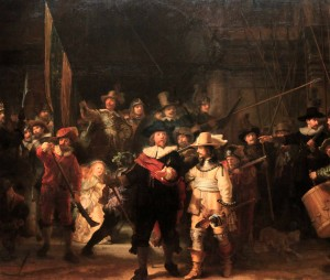 "'Militia Company of District II Under the Command of Captain Frans Banninck Cocq, Known as ""The Nightwatch""' by Rembrandt van Rijn (1642 AD)."