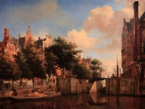 'Amsterdam City View with Houses on the Herengracht and the Old Haarlemmersluis' by Jan van der Heyden (1670 AD).