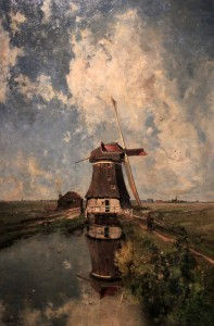 "'A Windmill on a Polder Waterway, Known as ""In the Month of July""' by Paul Joseph Constantin Gabriël (1889 AD)."
