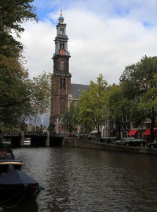 "The Westertoren (""Western Tower""), the highest church tower in Amsterdam and part of Westerkerk (""Western Church"")."
