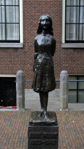 Statue of Anne Frank, not too far from the house she and her family hid in during the war.