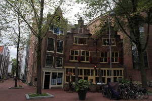 Buildings in Amsterdam that have a noticeable lean to their façades.
