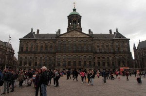 The Royal Palace of Amsterdam, which was originally built as a town hall during the Dutch Golden Age in 1665 AD.