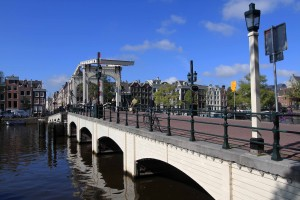 "The Magere Brug (""Skinny Bridge"") over the Amstel River."