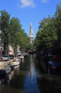 "The Zuiderkerk's (""Southern Church"") steeple, seen from a bridge over the Groenburgwal canal."