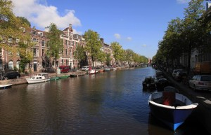Kloveniersburgwal canal in Amsterdam.