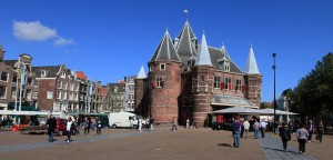 "The Waag (""Weigh House""), a 15th-century AD building that was originally used as a city gate, located on Nieuwmarkt Square."