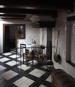 "The kitchen inside the canal house that houses the clandestine church (or ""schuilkerk"")."