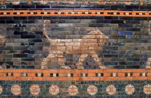 Closeup of a lion depicted on the glazed bricks on the Ishtar Gate.