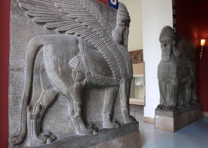 Reconstruction of Assyrian schedulamassu, figures that once stood at the entrance to a chamber in a palace in Ancient Assyria.