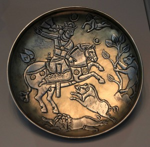 A replica of a 7th-century AD Iranian silver hunting plate.