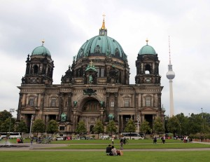 View of the front of the Berlin Cathedral, which dates back to 1451 AD; however, its current form dates to 1905 AD.